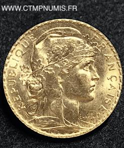 20 FRANCS OR COQ 1908 SPL