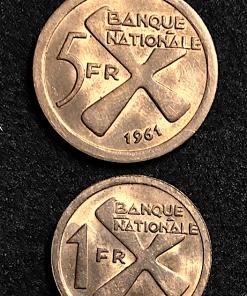 ZAIRE KATANGA 1 ET 5 FRANCS CUIVRE 1961 SUP+