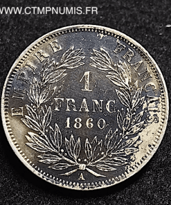 1 FRANC ARGENT NAPOLEON III 1860 A PARIS