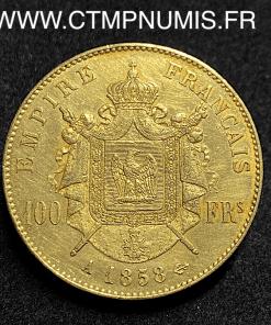 100 FRANCS OR NAPOLEON III 1858 A PARIS