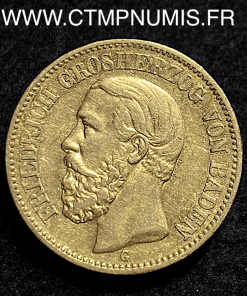 ALLEMAGNE BADEN 20 MARK OR FREDERICK 1872