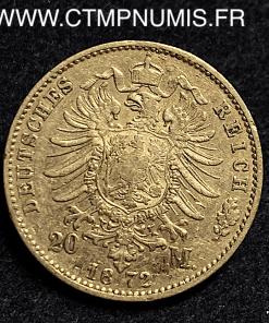 ALLEMAGNE BAVIERE 20 MARK OR LOUIS II 1872 D