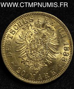ALLEMAGNE PRUSSE FREDERICK 20 MARK OR 1888