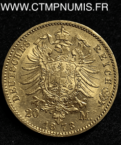 ALLEMAGNE WURTTEMBERG 20 MARK OR 1873 F