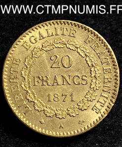 20 FRANCS OR GENIE III° REPUBLIQUE 1871 A PARIS