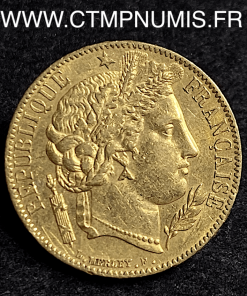 20 FRANCS OR CERES 1850 PARIS OREILLE HAUTE