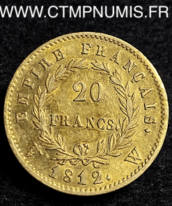 20 FRANCS OR NAPOLEON I° EMPIRE 1812 W LILLE