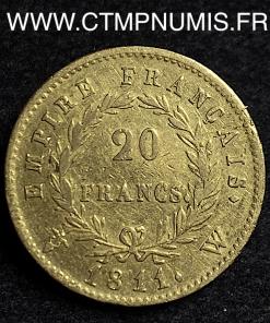 20 FRANCS OR NAPOLEON I° EMPIRE 1811 W LILLE
