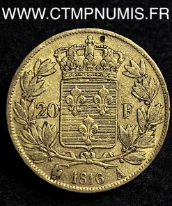 20 FRANCS OR LOUIS XVIII BUSTE NU 1816 A PARIS