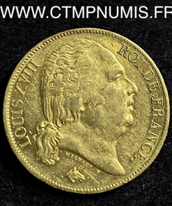 20 FRANCS OR LOUIS XVIII BUSTE NU 1817 L BAYONNE