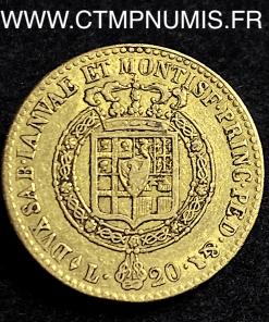 ITALIE 20 LIRE OR VICTOR EMMANUEL I° 1817 TURIN