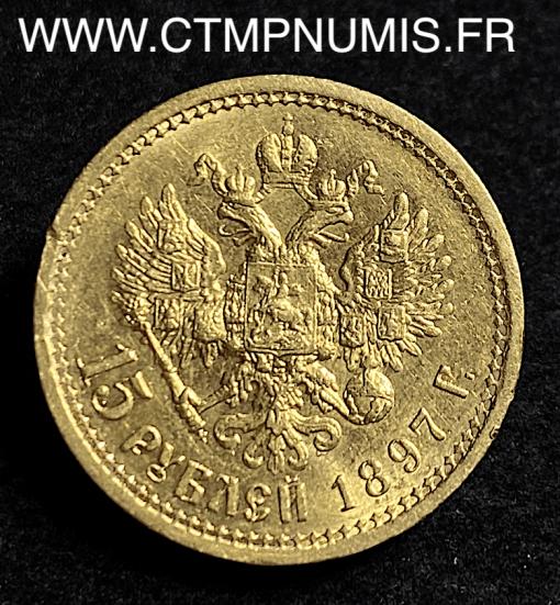 RUSSIE 15 ROUBLE OR NICOLAS II 1897 SUP