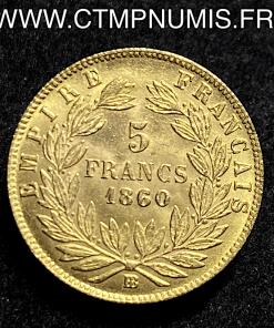 5 FRANCS OR NAPOLEON III 1860 BB STRASBOURG