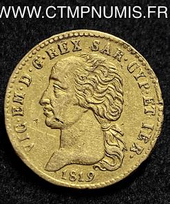 ITALIE 20 LIRE OR VICTOR EMMANUEL 1819