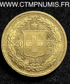 SUISSE 20 FRANCS OR HELVETIA 1886 B BERNE
