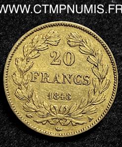 20 FRANCS OR LOUIS PHILIPPE I° 1848 A PARIS TTB