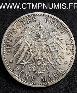 ALLEMAGNE PRUSSE 5 MARK ARGENT 1901
