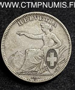 SUISSE 2 FRANCS ARGENT HELVETIA 1862 B BERNE