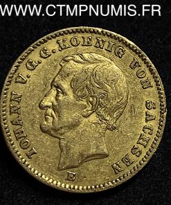 ALLEMAGNE SAXE 20 MARK OR JEAN V 1872 E