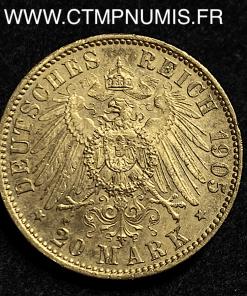 ALLEMAGNE SAXE 20 MARK OR FREDERICK 1905 E