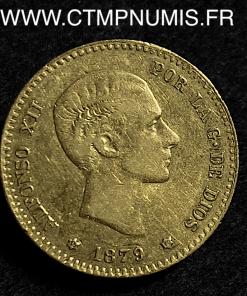 ESPAGNE ALPHONSE XII 10 PESETAS OR 1879