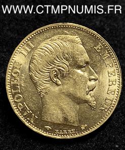 20 FRANCS OR NAPOLEON III TETE NUE 1856 PARIS