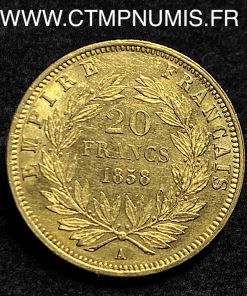 20 FRANCS OR NAPOLEON III TETE NUE 1858 PARIS