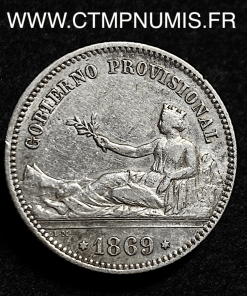 ESPAGNE 1 PESETA ARGENT 1869 TTB