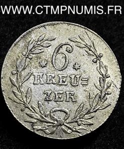 ALLEMAGNE BADEN 6 KREUZER ARGENT 1816