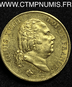 40 FRANCS OR LOUIS XVIII 1816 L BAYONNE TTB+