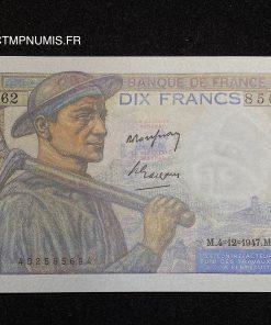 BILLET 10 FRANCS MINEUR DU 4.12.1947 NEUF
