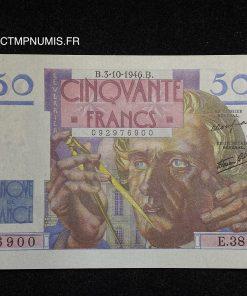 BILLET 50 FRANCS LE VERRIER DU 3.10.1946 SPL