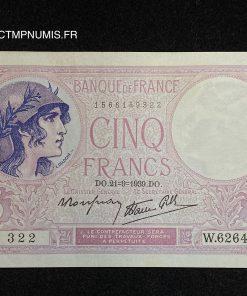 BILLET 5 FRANCS VIOLET DU 21.9.1939 SPL